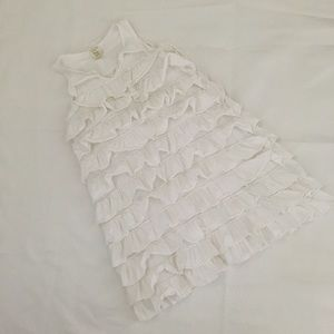 Crewcuts White Cotton Ruffle Dress